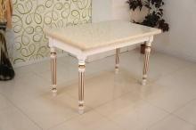 стол со столешницей из искусственного камня белый с позолотой купить