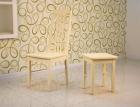 стул деревянный жесткий 'Элегия' слоновая кость с табуретом 'Элегия'