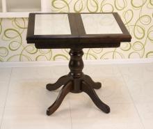 стол деревянный с керамической плиткой 80х70 см. темный орех