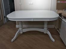 стол полуовальный белый