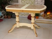 стол раздвижной с керамогранитом слоновая кость с золотом