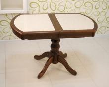 стол овальный раздвижной с керамогранитом 120х70 см. темный орех