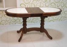 стол овальный 120х70 см. с керамической плиткой темный орех