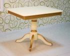 стол раскладной деревянный 90х70 см. слоновая кость с позолотой