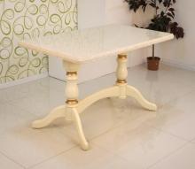 стол с каменной столешницей 120х70 см. слоновая кость